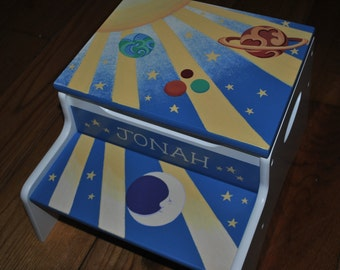 Kids Personalized 2 Step Stool, Space Odyssey