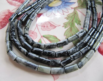 8mm Serpentine Tube Beads in Black and Gray, Approx 8mm x 4mm, 1 Strand 50 Beads, Polished Gemstones
