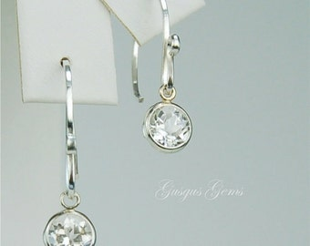 White Topaz Dangle Earrings Sterling Silver 6mm Round 2ctw