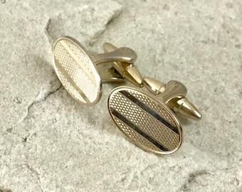 Gold Cufflinks Engine Turned Oval Fronts - Gilt- Swivel T Bar Torpedo Bullet Backs - Gift Boxed