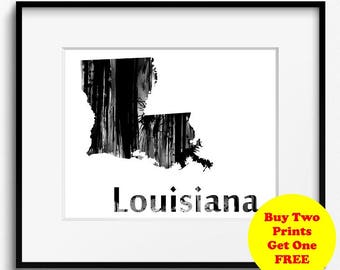 Louisiana State Map Watercolor Black and White Art Print (795) Bayou State,Creole State, Pelican State, Sugar State, Mississippi