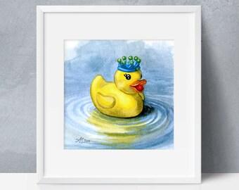 Printable Wall Art, Rubber Ducky, King of the Bathtub, Nursery Print, Bathroom Art, Digital Download, 8x8, 16x16