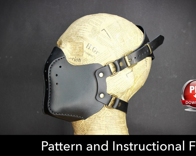 Biker Mask Pattern - DIY Pattern - Halloween Mask DIY - Leather mask DIY - Pdf Download - Mask Template -Steampunk Mask Pattern