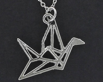 ORIGAMI CRANE Outline Necklace - Pewter Charm on a FREE Plated Chain