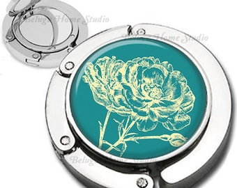 Botanical Floral in Teal Bllue and light Yellow Purse Hook Bag Hanger Lipstick Compact Mirror