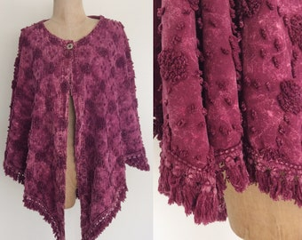 1990's Plum Purple Chenille Textured Cape Size All by Maeberry Vintage