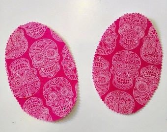 Pink Skull elbow patch