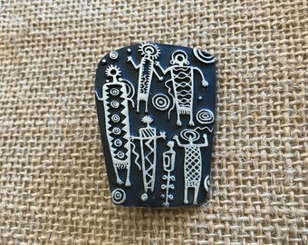 Vintage 1998 Urban Fetishes Pewter Modern Funky People Brooch