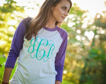 monogrammed raglan personalized raglan monogrammed shirt personalized shirt monogrammed tee