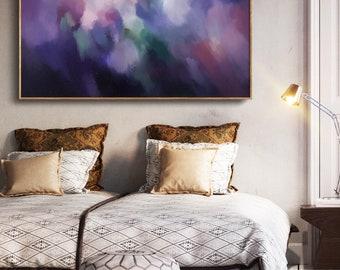 Purple Abstract Art Print, Blue Art Print, Modern Art Print, Canvas Watercolor Wall Art, Blue Art - READY TO HANG by Corinne Melanie Art