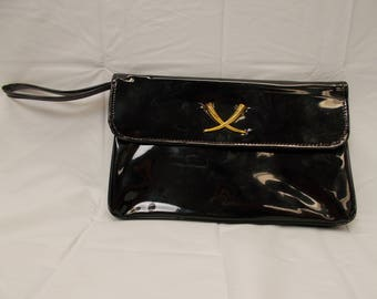 Shiny patent leather clutch