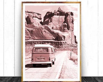 Retro Van Wall Art, Arizona Desert, Nursery Wall Art, Road Trip, Digital Download, Vintage Vehicle, Boho Art, Car Poster, Explore Print