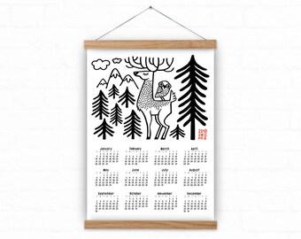 2018 Wall calendar - Deer and owl - 2018 calendar - wild life calendar - woodland calendar - A3, A2 calendar - 2018 calendar print