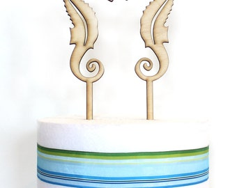 Seahorses Cake Toppers, wood cake topper, seahorses laser cut, wedding cake topper, beach wedding, ocean wedding