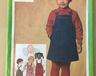 Simplicity #9722 - Size 4 Child's Overalls in Two Lengths and Jumper Pattern