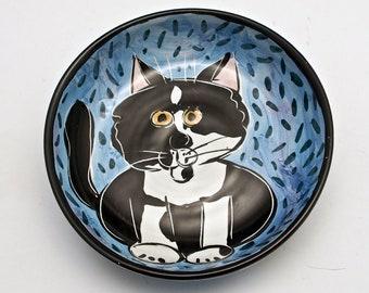 Ceramic Feeding Dish Bowl -  Tuxedo Cat - Black White - Shallow Feeding Bowl -  Clay Pottery Majolica Handmade - Blue - Pet Feeding Dish
