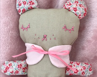 Cuddly plush teddy bear canvas and liberty fabric to order