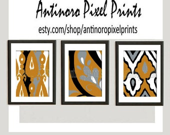 Digital Print Wall Art Mustard Yellow Grey Vintage / Modern inspired Wall Art -Set of (3) - 8x10 Prints -   (UNFRAMED)