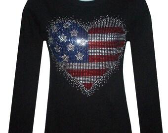 New Rhinestone HEART American Flag Long Sleeve Shirt Top color blacks Size:Small To 3XL.