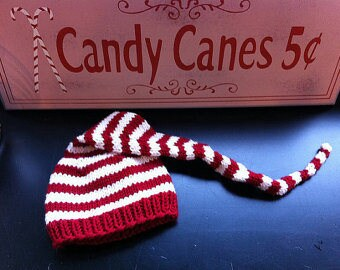 Hand Knit Elf Candy Cane Hats