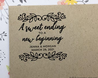 A Sweet Ending to a New Beginning Stamp, Personalized Wedding Favor Stamp, Candy Buffet Stamp, Wooden Stamp, Eco Friendly Rubber Stamp