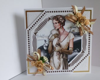 Art Deco Ladies Card 1940 Happy Birthday,Happy Birthday To You,Happy anniversary,Celebrate Your Day And A Gift Card