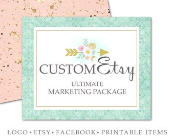 Custom Marketing Set-Logo,Etsy Cover Set,Facebook Cover & Tabs,Business Card,Web or Blog Header,Two Printable Items of Choice-Branding Set