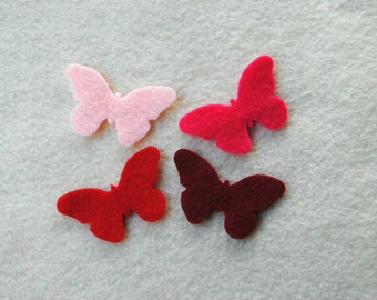 20 Piece Small Die Cut Felt Butterflies, Reds