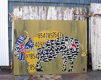 Original BUFFALO cabin bar restaraunt art - Adventure Road Trip Hiking Awesome Recycled License Plate Art - Salvaged Wood - Upcycled Artwork