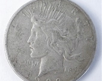 1922S Vintage Silver Peace One  Dollar Collectible Coin, 1922 S Coin, San Francisco Mint Mark