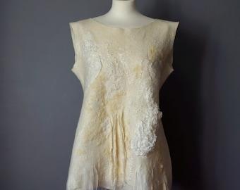 felted blouse, nuno felted tunic, boho chic fashion,  ecri blouse, eco tunic, asymmetrical blouse- Feltmondo