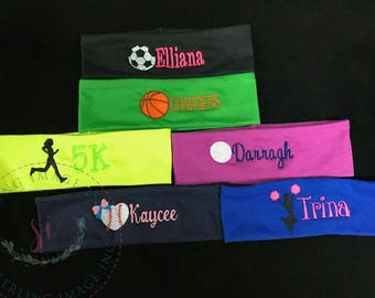 Sports Headband, Team Monogrammed Headband, Personalized Headband, Soccer Headband, Custom headband Gift Cheer headband, Basketball headband