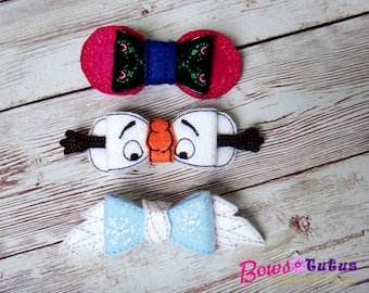 FROZEN Elsa, Anna and Olaf Inspired 3D Bow - Photography Prop
