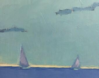 "Visiting Morning - Original Acrylic Oil Encaustic Seascape Painting - 8""x 8"""