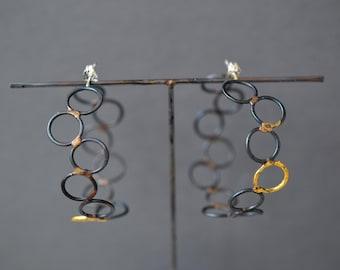 Steel and Gold Bubble Hoop Earrings- statement earrings, extra large hoops, statement earrings, post hoop earrings, contemporary hoops