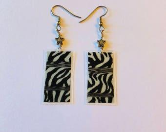 Zebra Print Recycled Magazine Rectangle Earrings