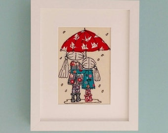 Framed Puddles & Petticoats Freehand Embroidered Picture by Lillyblossom. Sisters or Best Friends textile art, birthday gift.