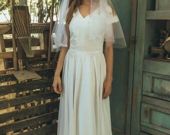 1920s wedding dress / Simple boho wedding dress / Simple modest wedding dress / V top wedding dress / bohemian wedding gown / tulipa gold