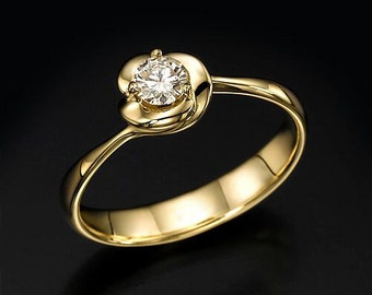flower diamond ring, flower engagement ring, flower ring, yellow gold ring, floral ring, Unique Engagement Ring, solitaire ring, dainty ring