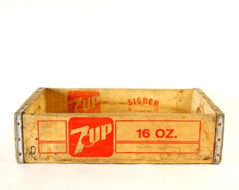 Vintage 7-Up Wooden Beverage Crate #12-82, 7-Up Crate in Red (c.1982) - Industrial Storage Box, Beverage Collectible