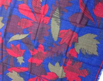 Vintage LANVIN Silk wool scarf. leaves pattern