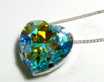 Galactic Heart - Large Aurora Borealis AB Swarovski Heart Crystal Necklace - Magical Space Gem, Available In Silver or Gold