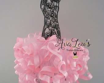 Pink swirl tutu, layered tutu, pink ribbon tutu, all pink tutu, pink tutu, pink ribbon tutu, curly pink tutu, pretty pink tutu, little girls