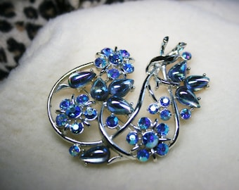 Vintage 1950s Rhinestone Brooch Pin Aurora Borealis Cabochons Silver Tone - Mother's Day Gift