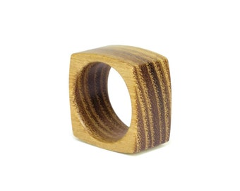 Wooden ring; wide band, wooden ring for men, ring for women - acacia wood ring, reclaimed wood, size: 10