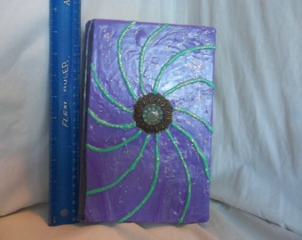 Halloween Witches Spell Book of Magic Altered OOAK Prop Crystal Moon Purple