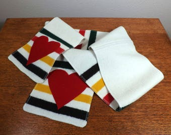 """Wool Scarf with Hearts - 51 1/4"""" - Blanket-Weight Glacier National Park Fabric ~ Wool Heart Applique"""