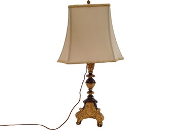 Ornate Antique Gilded Table Lamp and Shade
