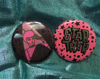 "1.5"" Star Trek Pin Set *pink & green glitter*"
