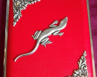 Lizard cigarette case / wallet / card holder in Faux Pink, Black or Red leather